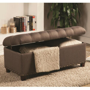 Details About Accent Upholstered Tufted Seat Storage Bench Ottoman Brown  Linen Like Fabric