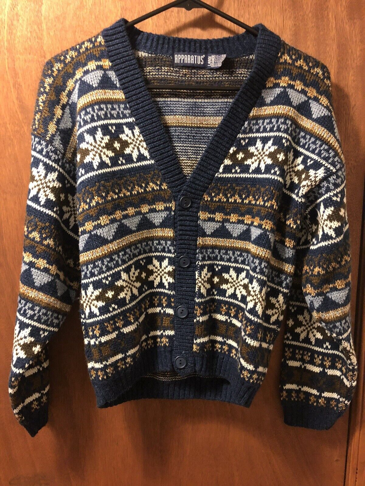 Vintage Geometric Leather Cut and Sew Striped Mens Knit Sweater