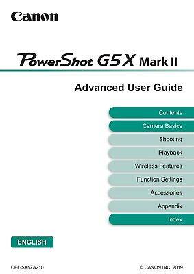 Canon Powershot 219 páginas G9X Mark II A5 guía manual del usuario impreso