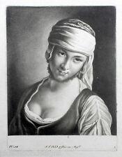 Johann Jacob Haid Orig Mezzotint Schabkunst um 1760 Portrait Dame Magd Mätresse