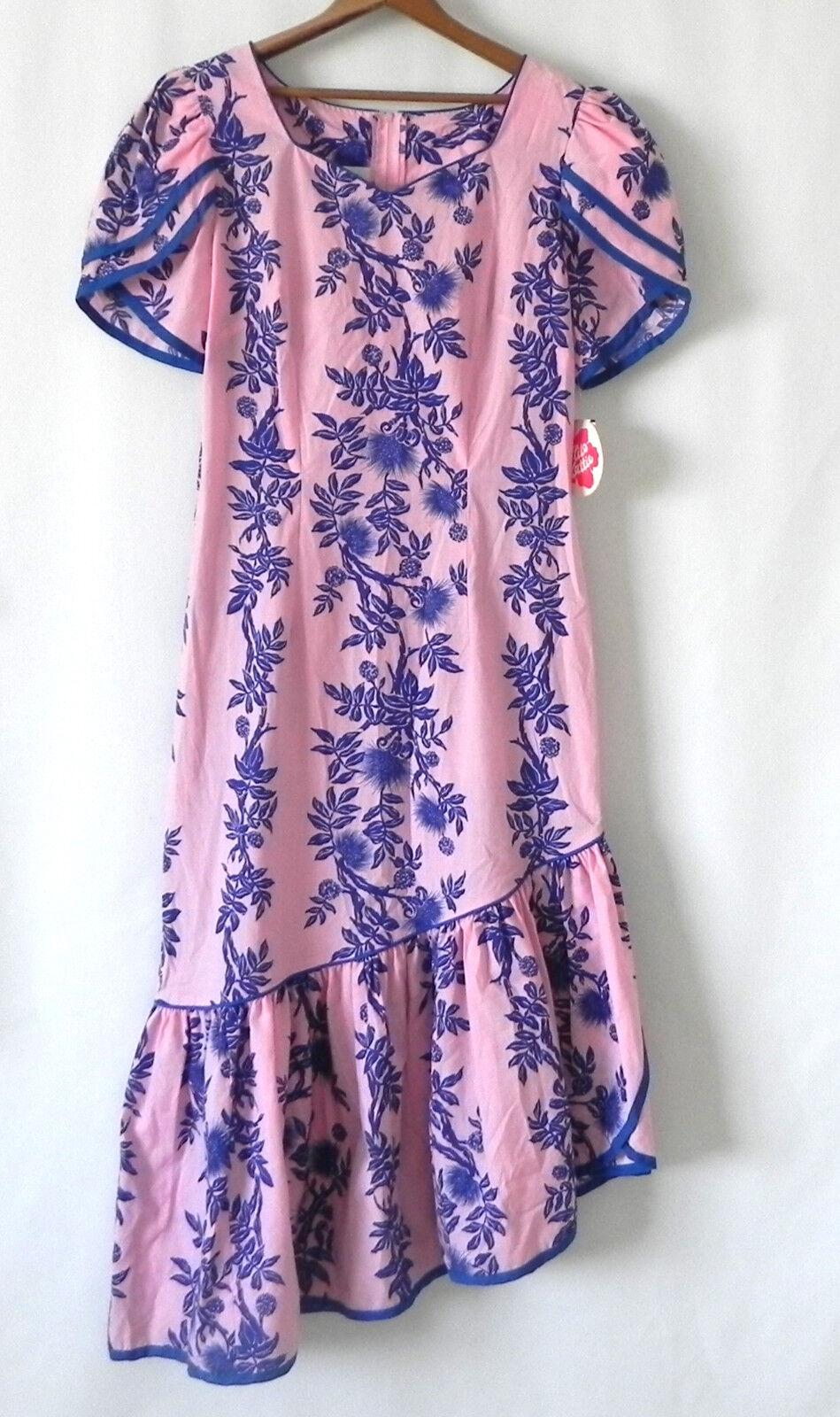 Hilo Hattie Dress Floral Asymmetrical Riffle Hem Short Sleeve Cotton Poly Size12