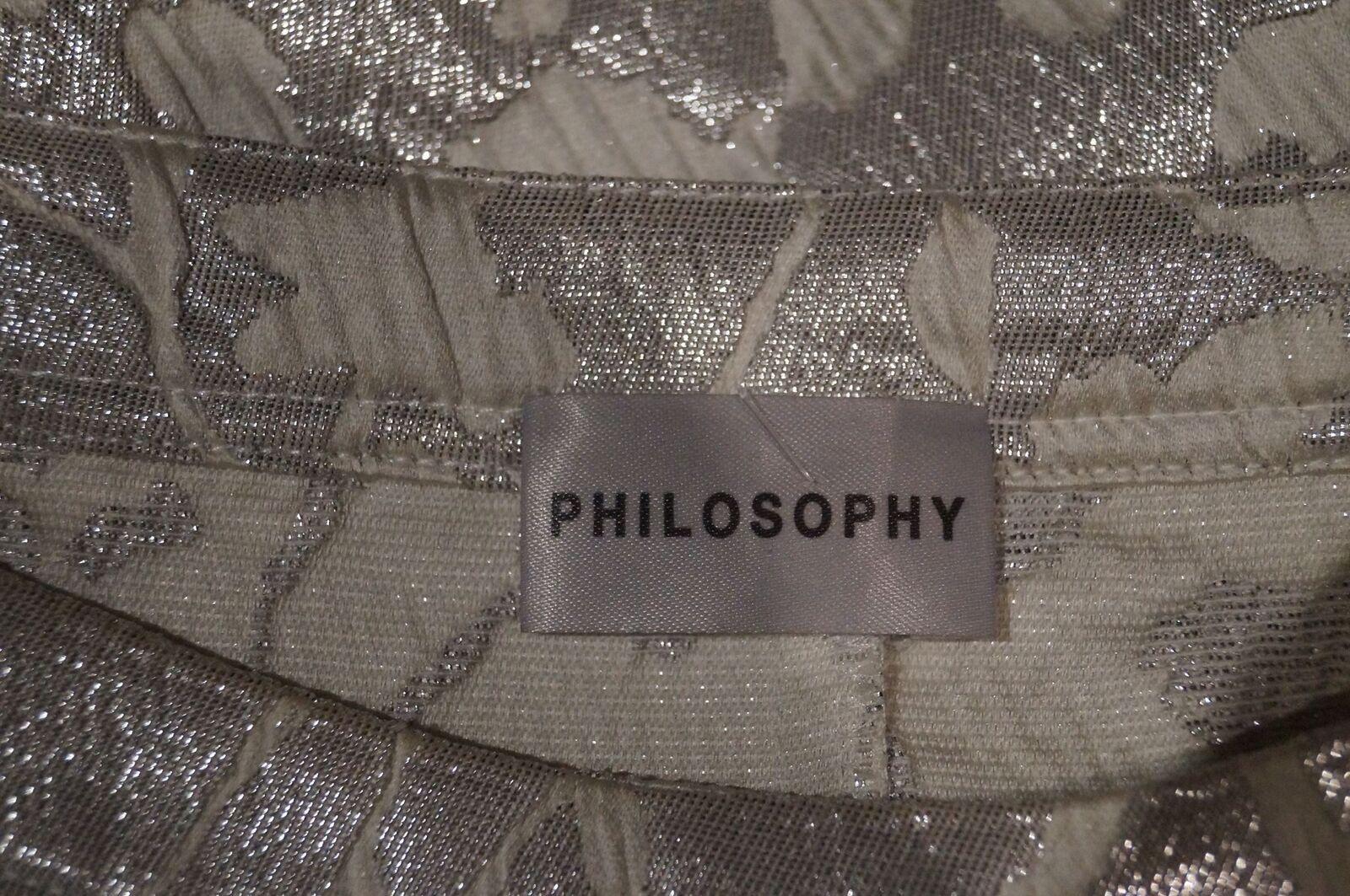 Filosofia Grigio e argentoo argentoo argentoo Metallico Testurizzati Scollo Profondo Manica Corta T-shirt Top 1 4b28bf