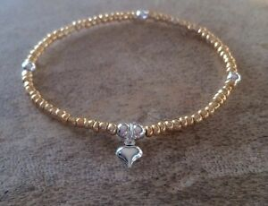 Silver And Gold Seed Bead Ball Beaded Mini Puffed Heart Charm Stretchy Bracelet - <span itemprop=availableAtOrFrom>Chelmsford, United Kingdom</span> - Silver And Gold Seed Bead Ball Beaded Mini Puffed Heart Charm Stretchy Bracelet - Chelmsford, United Kingdom