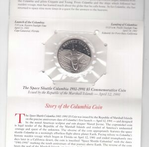 MARSHALL-ISLANDS-5-UNC-COIN-1991-YEAR-KM-37-SPACE-SHUTTLE-COLUMBIA-IN-FOLDER