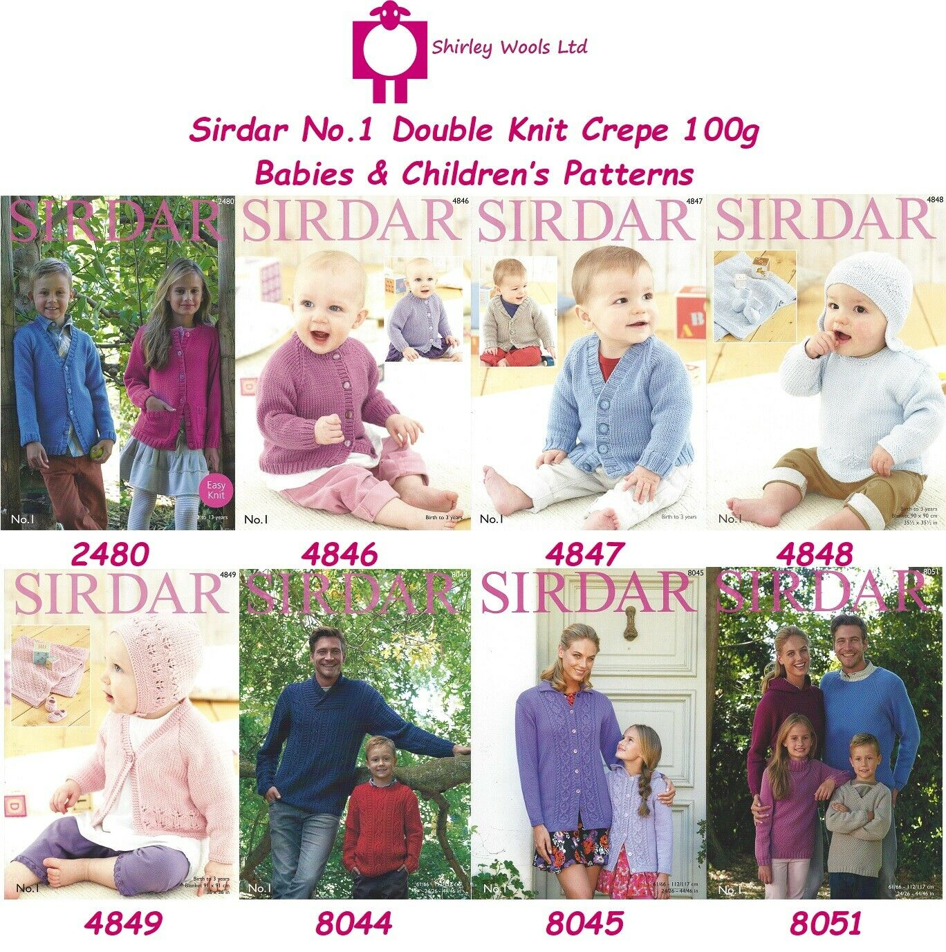 Sirdar Double Knitting No 1 Pattern 4849 Birth 3 Years