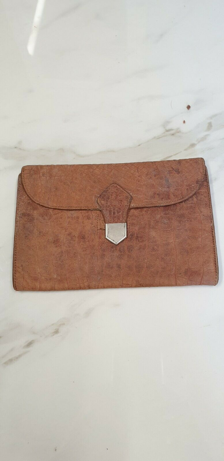 antique brown leather wallet