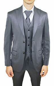 Nouveau In Diamond Made Italy Gris Class 100 complet Costume Man Brillant Groom 0zvnqH