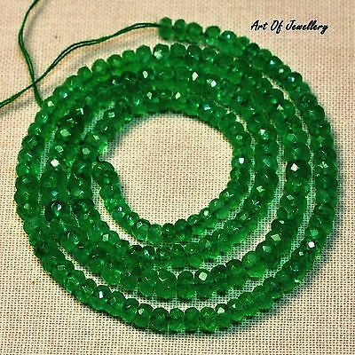 """70 CT 3mm*5mm Natural Of Emerald faceted Rondeles Beads 17/"""" Strand A1"""