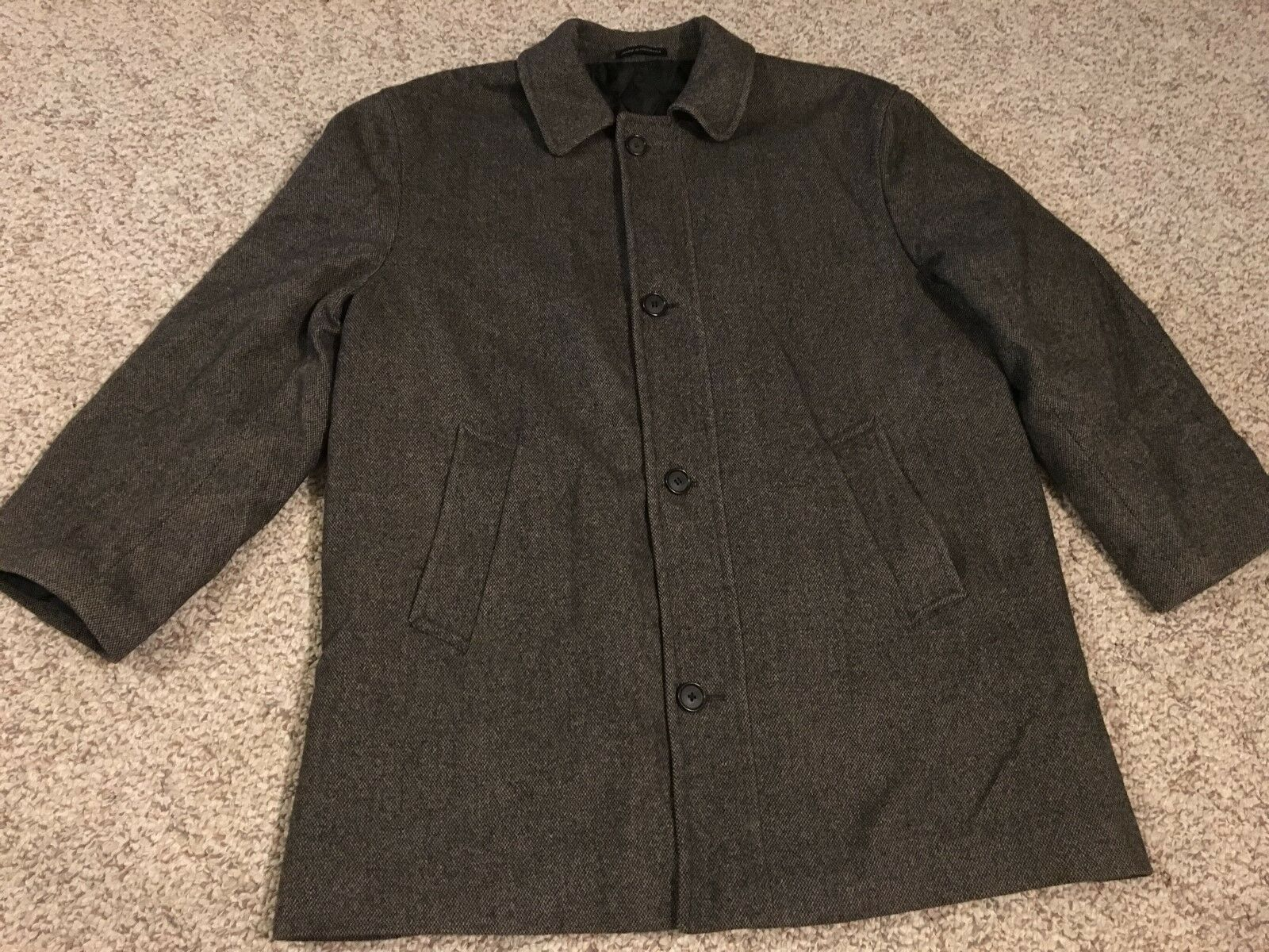 Lauren Ralph Lauren Men's Size 42 Short Button Up Cashmere Blend Coat - Brown