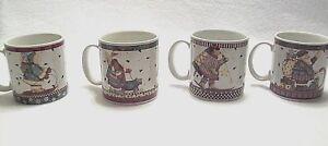 4-Sakura-Debbie-Mumm-Christmas-Mugs-Sledding-Characters-Ceramic-Holiday-Cups