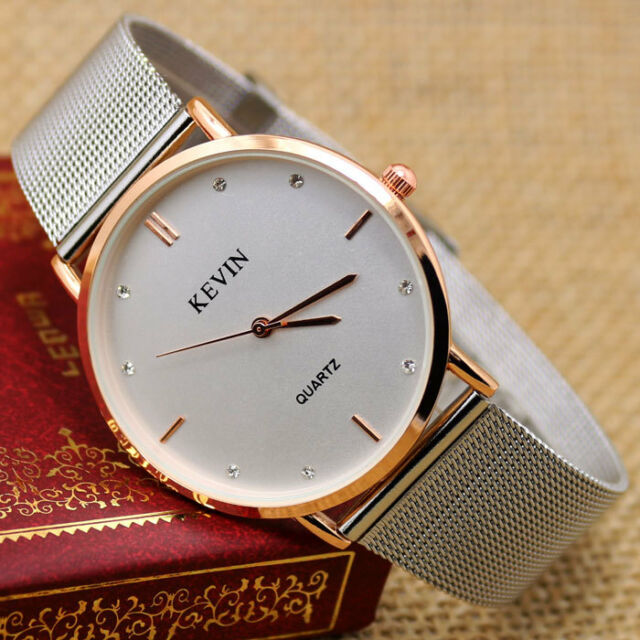 Exquisite Rose Gold Silver Band White Dial diamond Hour Men Women Watches Gifts