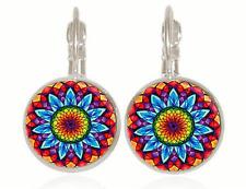 Kaleidoscope flower Tibet silver Glass cabochon 18 mm Lever Back Earrings #34