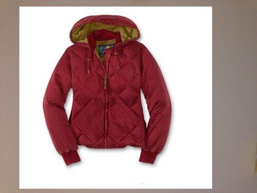 NWT Eddie Bauer Womens 1936 Skyliner Model Silk Down Jacket Hooded Dark Red