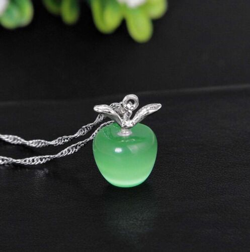 crystal GREEN APPLE charm sterling SILVER teacher female necklace FREE gift box