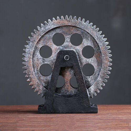 Industrial Steampunk Gear Cog Spanner Pipe Wrench Model Figurine Home Bar Decor