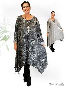 Poco Strick Design xl Pullover Lagenlook xxl xxxl Grau kleid Wende Schw L Long rr1aqU