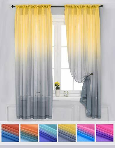 Sheer Curtains Voile Ombre Drapes Reversible Living Room Bedroom Window Curtains