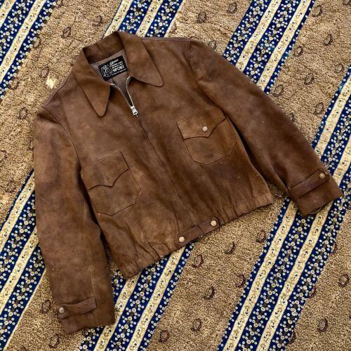 Vintage 1930s Suede Leather Sports Jacket Grommet