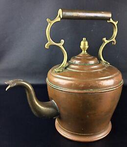 ANCIENNE-Art-nouveau-XIXeme-grande-theiere-Marocaine-en-cuivre-et-laiton