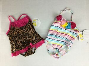 Koala-Kids-Swimsuit-3-6-Months-NWT-Cheetah-Ruffle-Lot-of-2