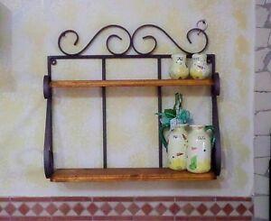 Mensola fioriera portaspezie in ferro battuto legno for Mensole in ferro battuto