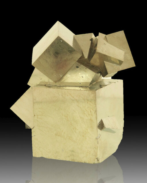 "2.7"" Mirror Bright Cluster CUBIC PYRITE Sharp Crystals Navajun Spain for sale"