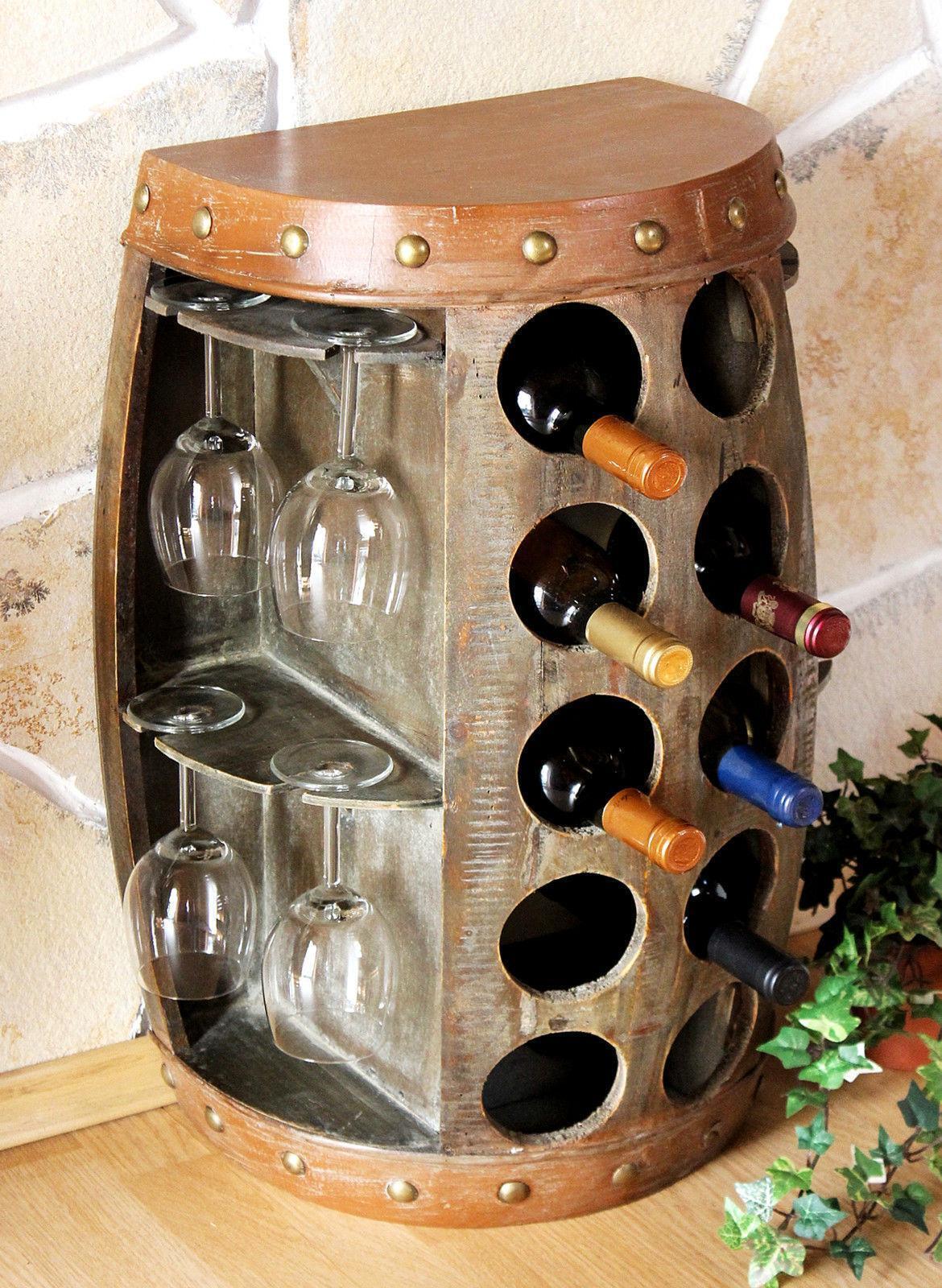 Scaffale porta vino fusto di 1547 Tavolino Armadio Barile legno 65 cm bar