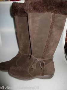 ESPRIT-J10301-Wildleder-Damen-Stiefel-Winter-Boots-braun-Gr-39-einmal-getragen