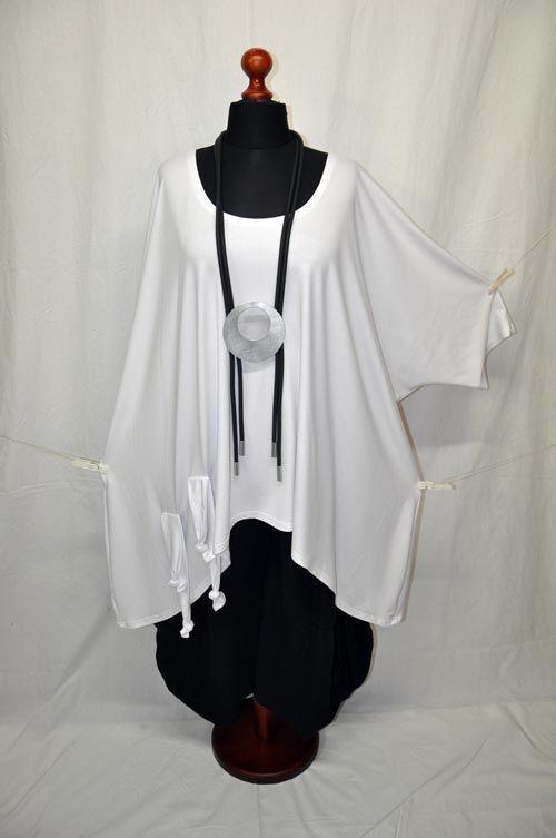 Layered Look Bow - big-ballon -tunika-shirt knoten-bänder White