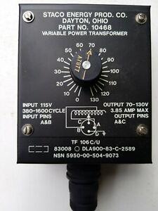 Staco Variac  Model TF 106C/U, I/P 380-1600Hz@ 115V, O/P 70-130V 3.85A Max.