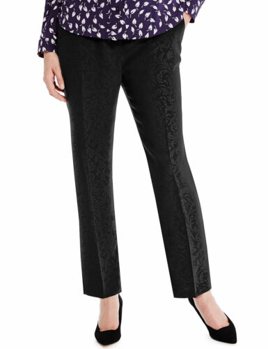 ANKLE GRAZER TROUSERS 8,16,20,22,24 MARKS /& SPENCER BLACK JACQUARD CROPPED
