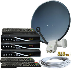 4-Teilnehmer-HDTV-Sat-Anlage-80cm-Spiegel-3x-HDTV-Sat-Receiver-HD-Quad-LNB