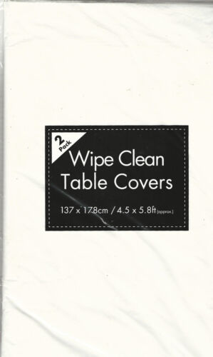 2 x LARGE WHITE 137 x 178cm Plastic TABLE CLOTH COVER Disposable Wipe Clean