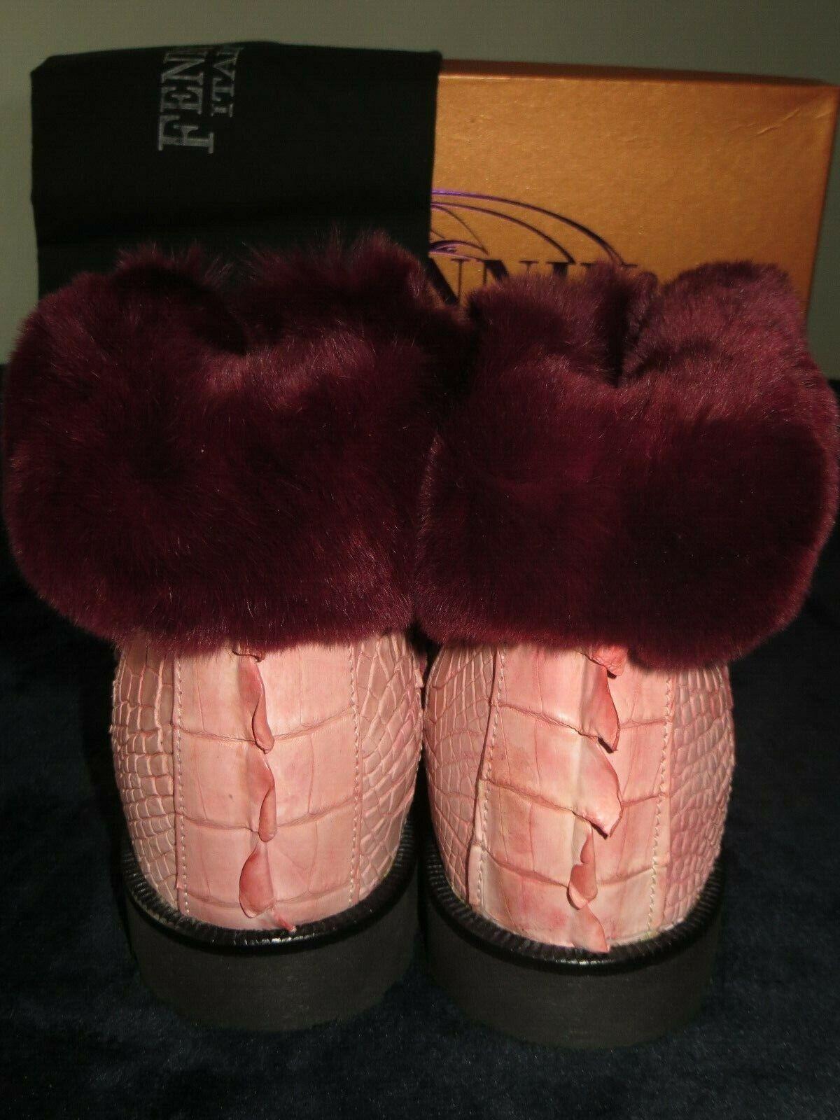New Fennix  Limited Pink Aligator Crocodile Mink Fur Boot Boot Boot 10 Mauri Mezlan 356d30