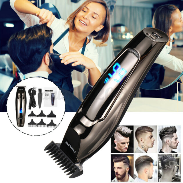 Professional Cordless LCD Electric Hair Clipper Machine USB Shaving Trimmer = -