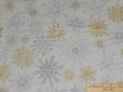 1//2 #18215-1 Tela de Navidad Copo De Nieve De Invierno Brillo por la yarda continua