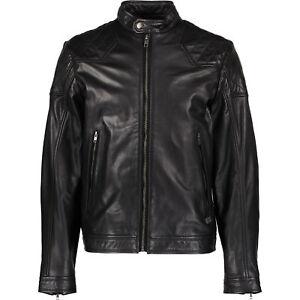 Diesel-Herren-Laleta-Black-Leder-Biker-Jacke-Groesse-Small
