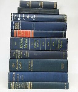 Lot-5-gorgeous-NAVY-DARK-BLUE-VINTAGE-BOOKS-rare-old-decorative-Ships-FREE