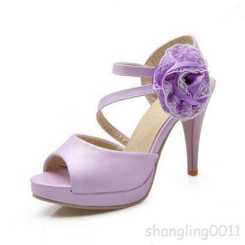 Cute Womens peep toe Flower Sandals Stiletto High Heel Party Wedding Dress Shoes
