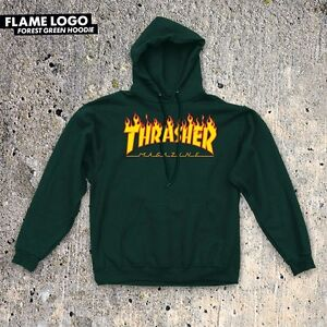 7998d03929a Image is loading Thrasher-Magazine-FLAMES-Pullover-Skateboard-Hoodie-FOREST- GREEN-