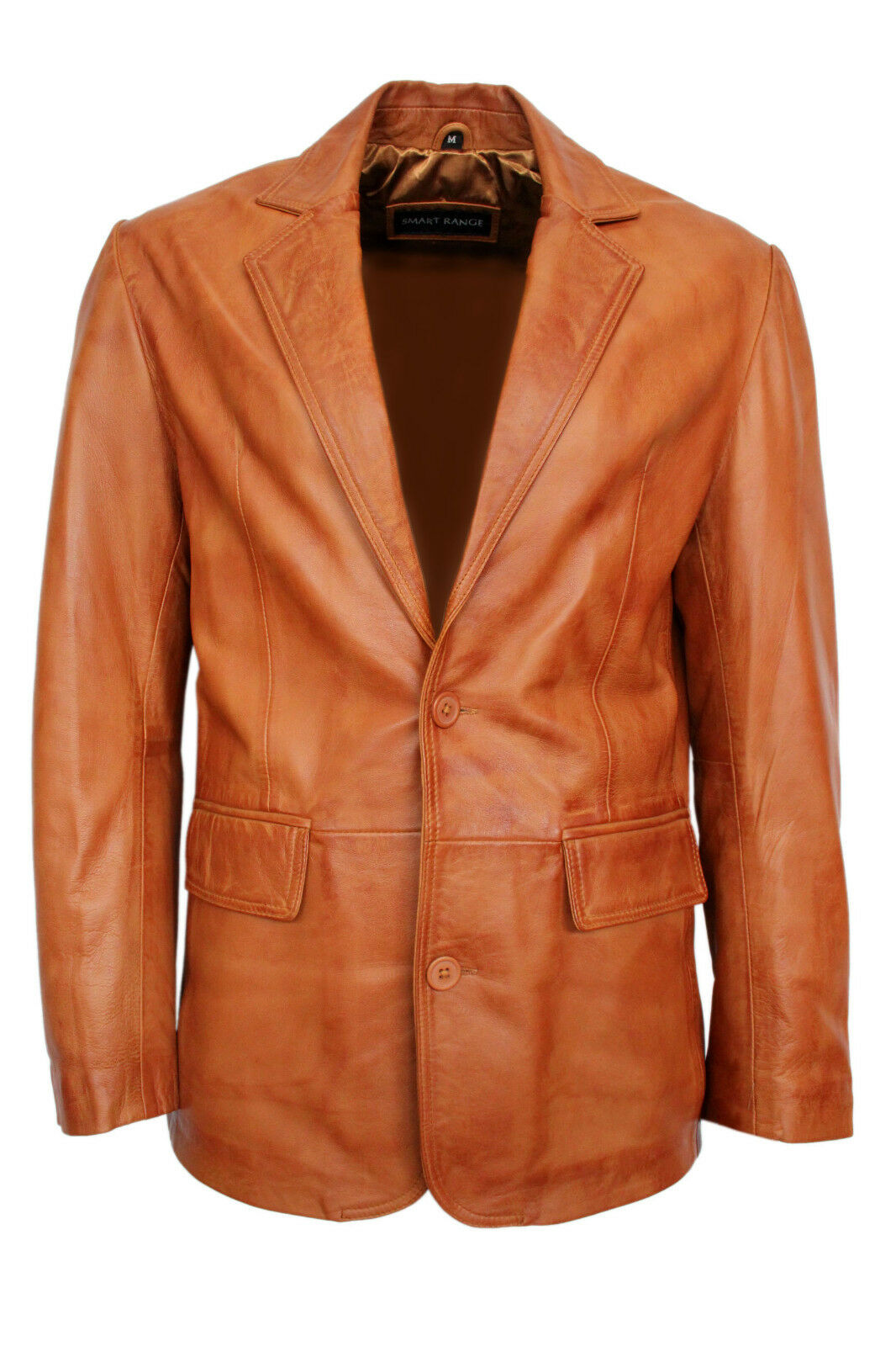 New 2BB Tailored Fit Smart Look Style 2 Button Blazer Coat Tan Nappa Leather