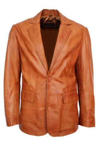 Leather Tan New Smart 2 Coat Button Style Look Fit Nappa Tailored Blazer 2bb wqvRxwB7nA