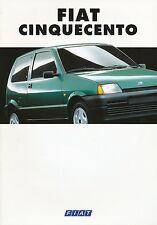 Fiat Cinquecento Prospekt 2/94 sales brochure 1994 Auto PKW Broschüre Italien