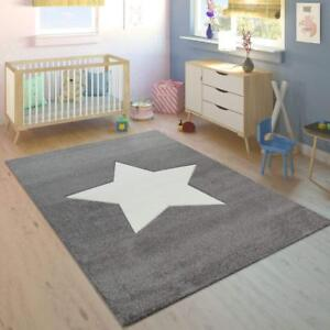 Details About Childrens Star Rug For Kids Bedroom Grey White Nursery Carpet Baby Play New Mats