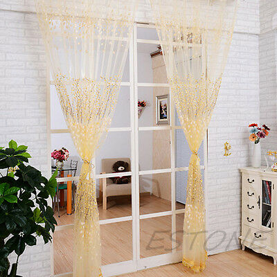 New Floral Type Drape Panel Sheer Scarf Valance Tulle Voile Door Window Curtain
