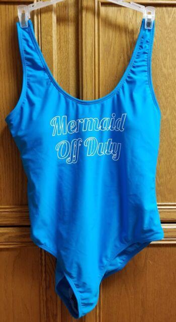 55dd1649d50 No Boundaries Junior's Blue 'Mermaid Off Duty' Swimsuit Size L (11-13