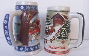 Budweiser-Beer-Stein-Mug-Cup-Holiday-Christmas-Collectors-Series-Lot-Bundle