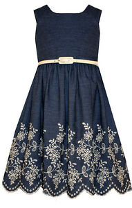 NEW-Bonnie-Jean-Special-Occasion-Girls-Chambray-Dress-With-Embroidered-Hem-4-16