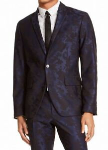 INC Mens Blazer Blue Black Medium M Slim Fit Floral Jacquard Two Button $129 083