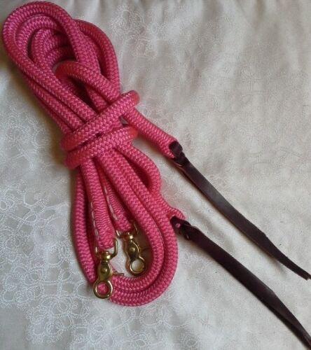 Western by Natural Equipment Horsemanship 8ft Rope Split Reins in Pink